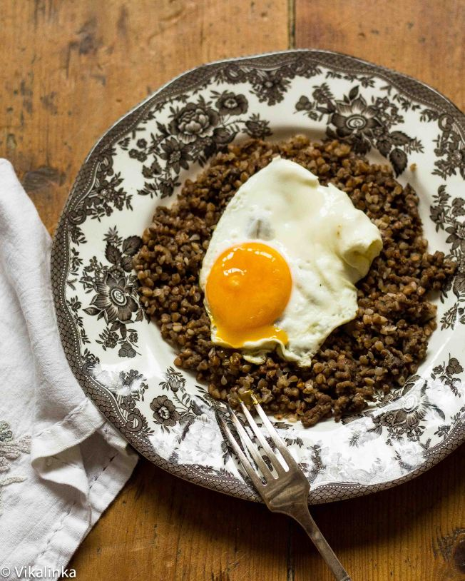 Buckwheat with caramelised onion, mushrooms and egg