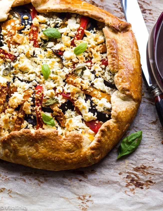 Eggplant, red and yellow pepper galette with feta