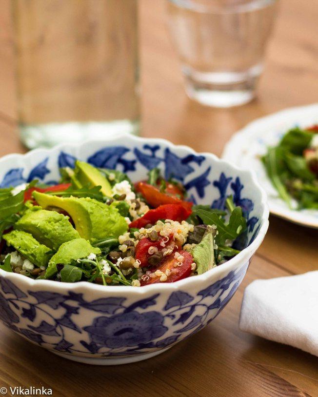 Quinoa andPuy Lentil Salad with Lime Cilantro Vinaigrette