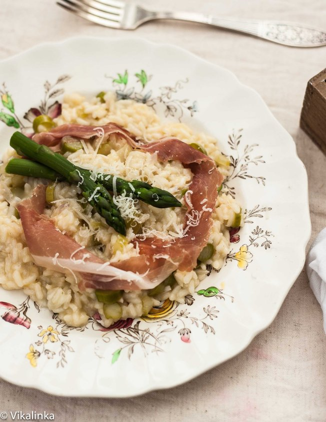 Asparagus Risotto with Prosciutto di Parma ribbons