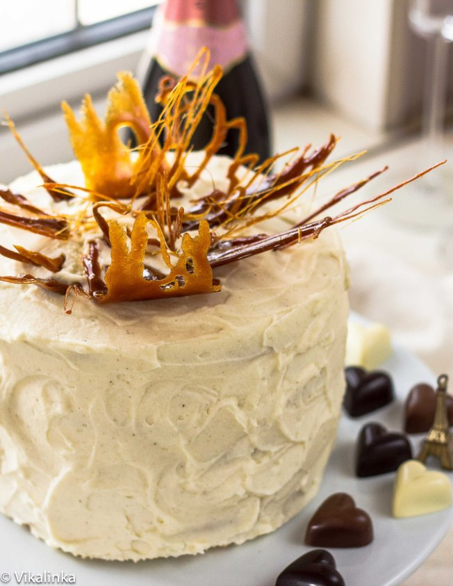 "Honey and Mascarpone Cream Cake ""Medovik"" with Caramel Flames"