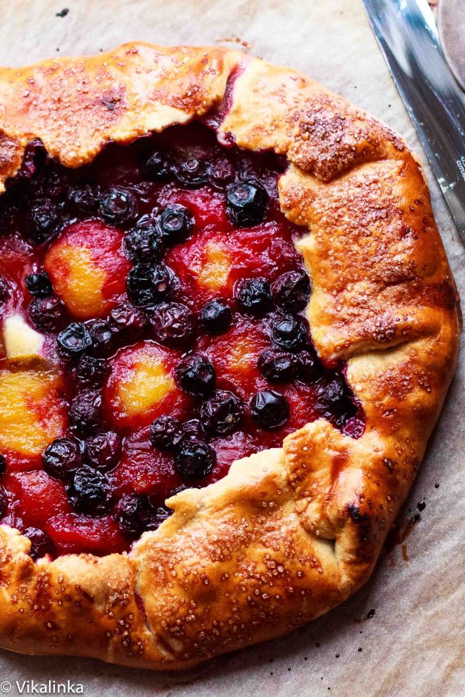 Yellow Plum and Blueberry Galette