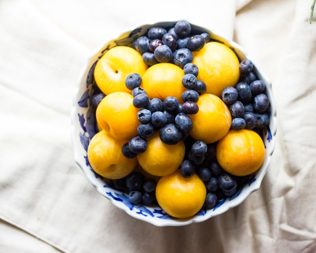 Yellow Plums and Bluberries