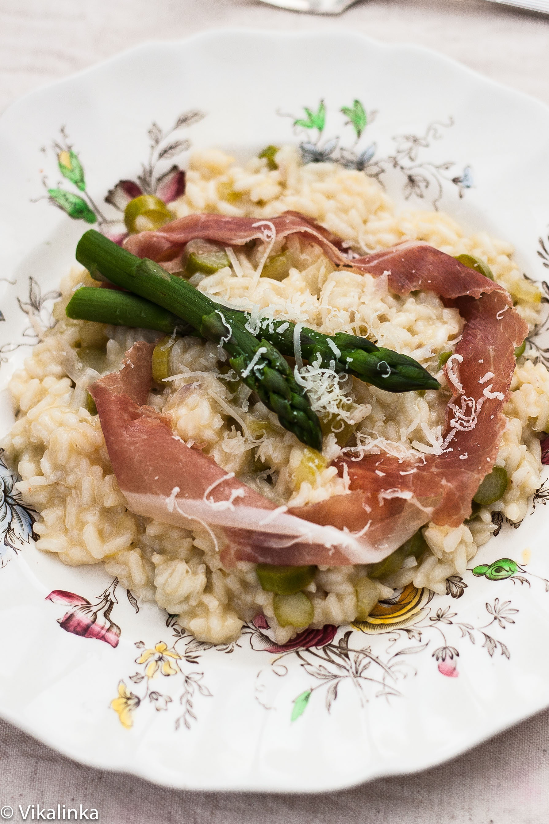 Asparagus Risotto with Prosciutto Ribbons