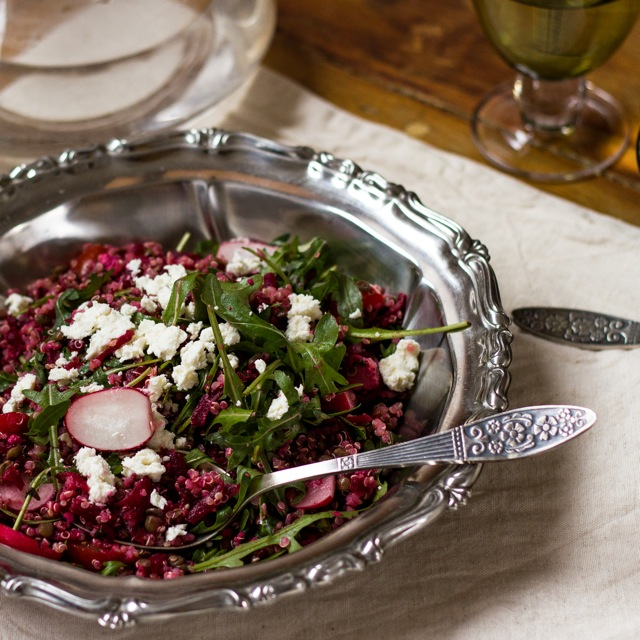 Beet and Quinoa Salad with Creamy Goat Cheese