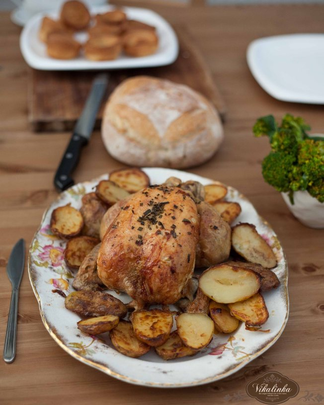Rosemary and Thyme Infused Roasted Chicken and Potatoes