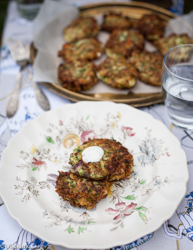 Feta and Zucchini Fritters with Garlic Yogurt Sauce