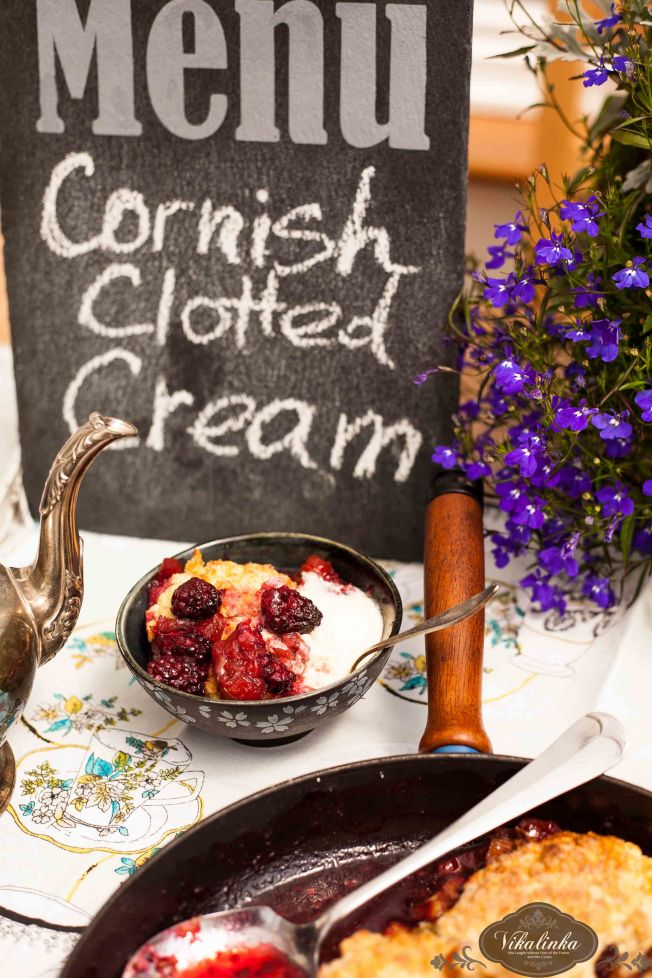 Rhubarb Blackberry Cobbler with Cornish Clotted Cream