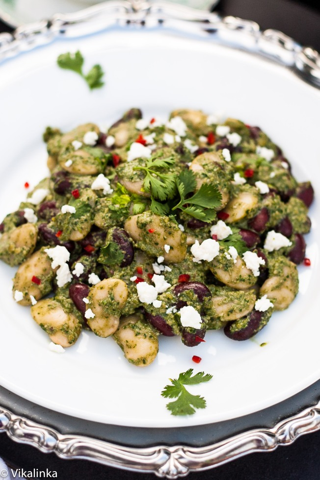 Cilantro Pesto Bean Salad with Goat Cheese