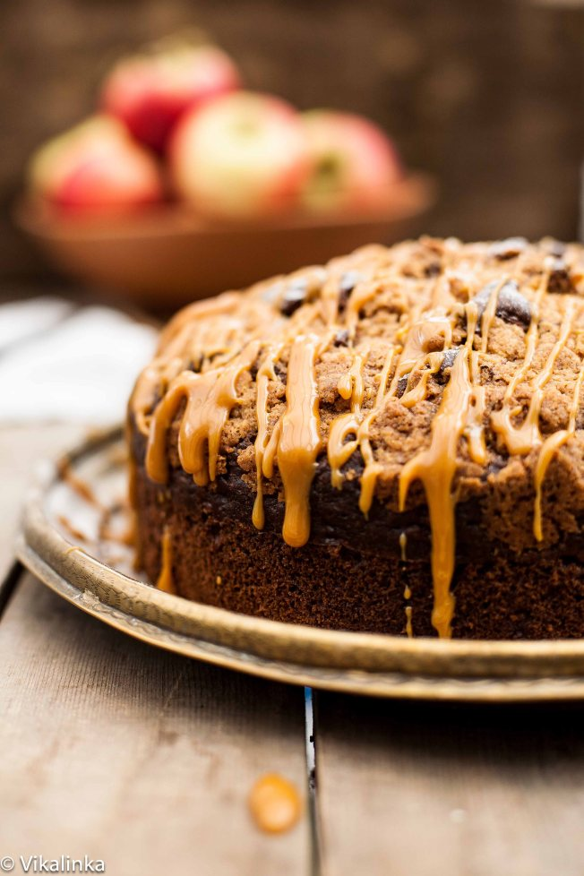Apple Spice Streusel Cake with Caramel Drizzle