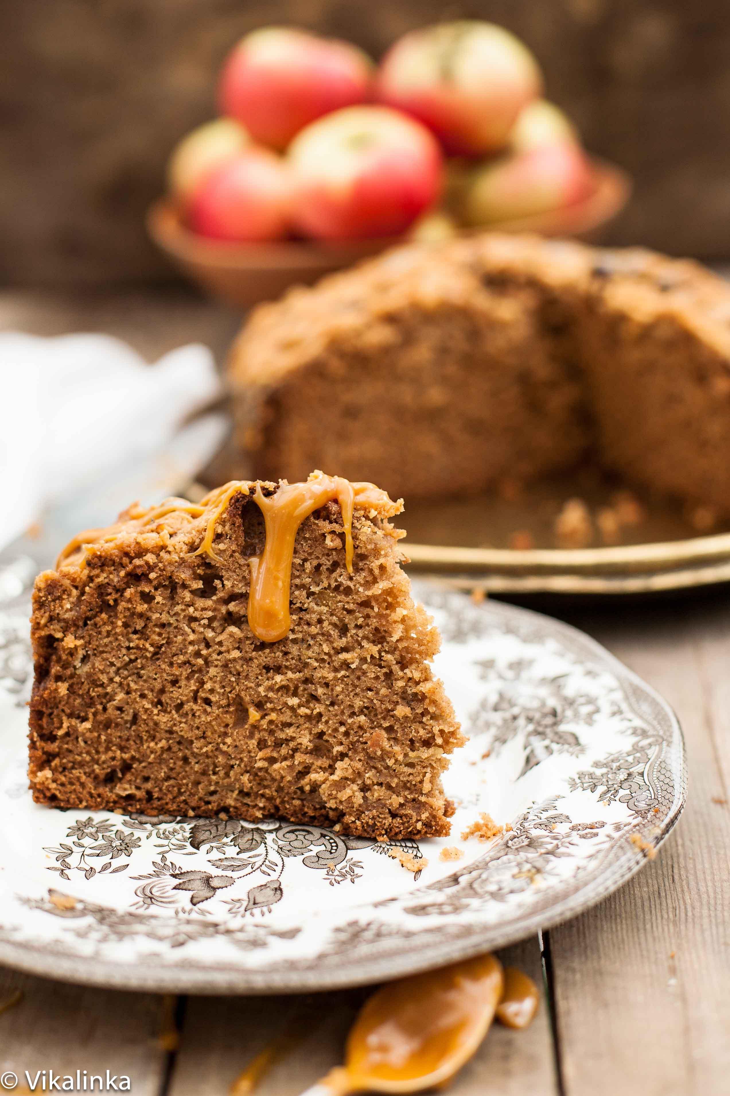 Apple Spice Streusel Cake with Salted Caramel Drizzle - Vikalinka