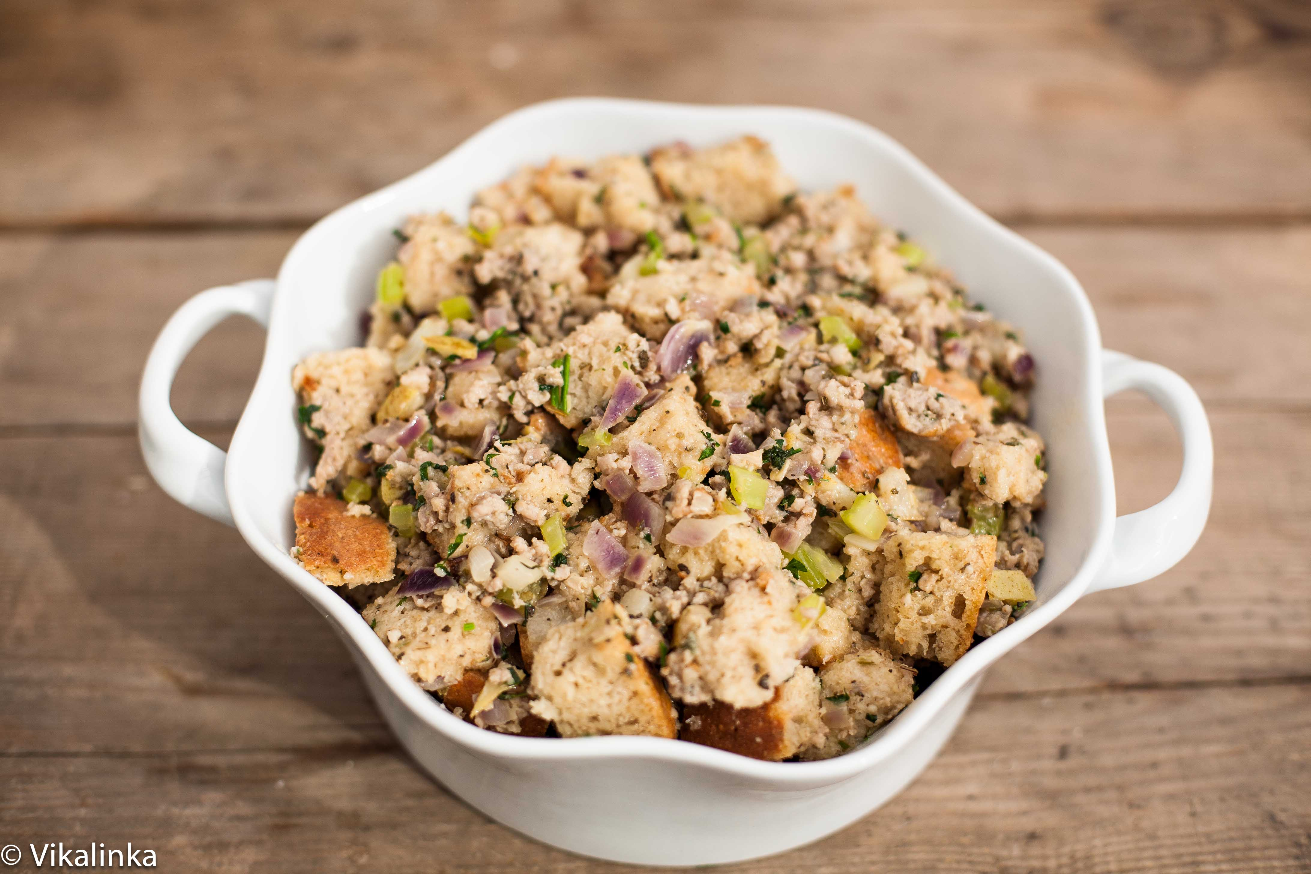 Sausage, pear and sage stuffing. (before baking)