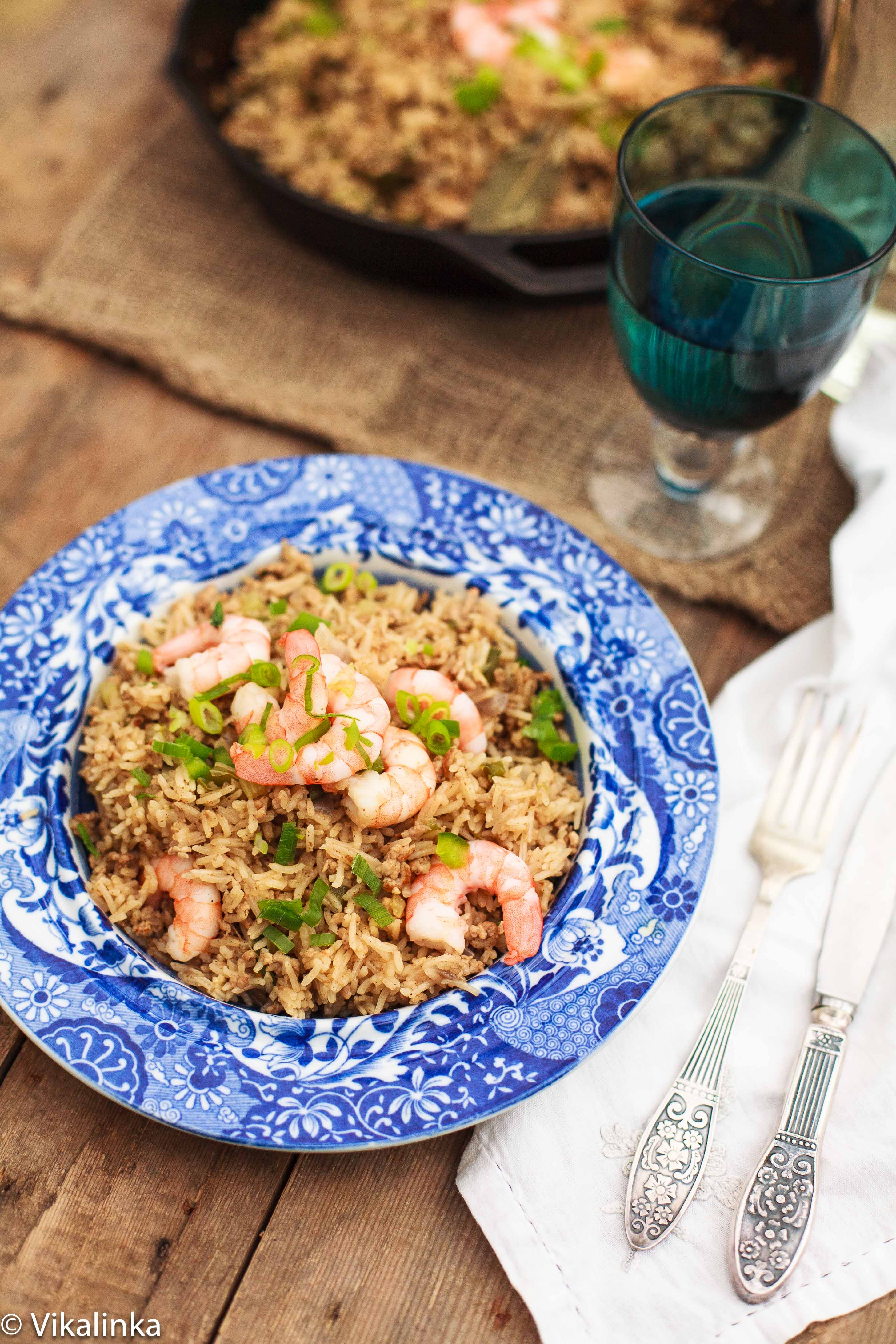 Cajun Dirty Rice with Shrimp