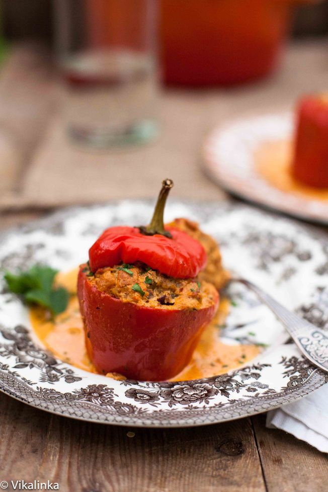 Stuffed Bell Peppers with Smoky Paprika Sauce