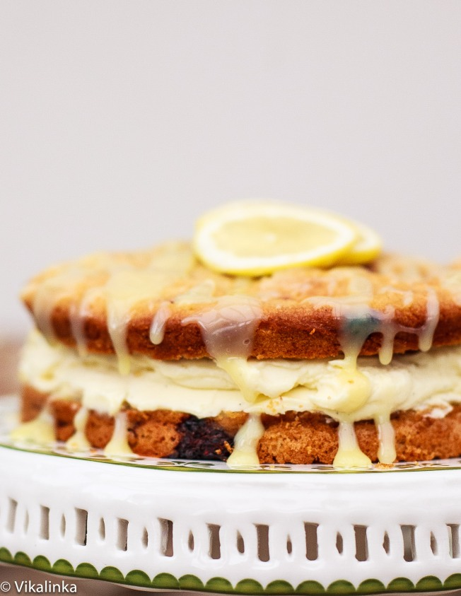Raspberry Limoncello Cake with Mascarpone Frosting