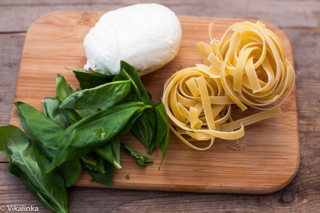 Tagliatelle with Panceta, Basil and Mozzarella