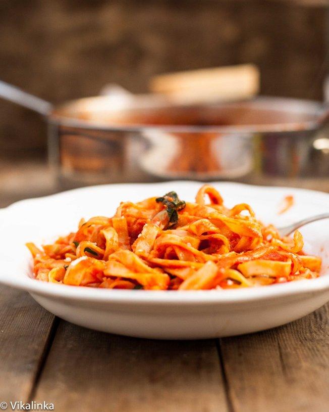 Tagliatelle with Pancetta, Basil and Mozzarella