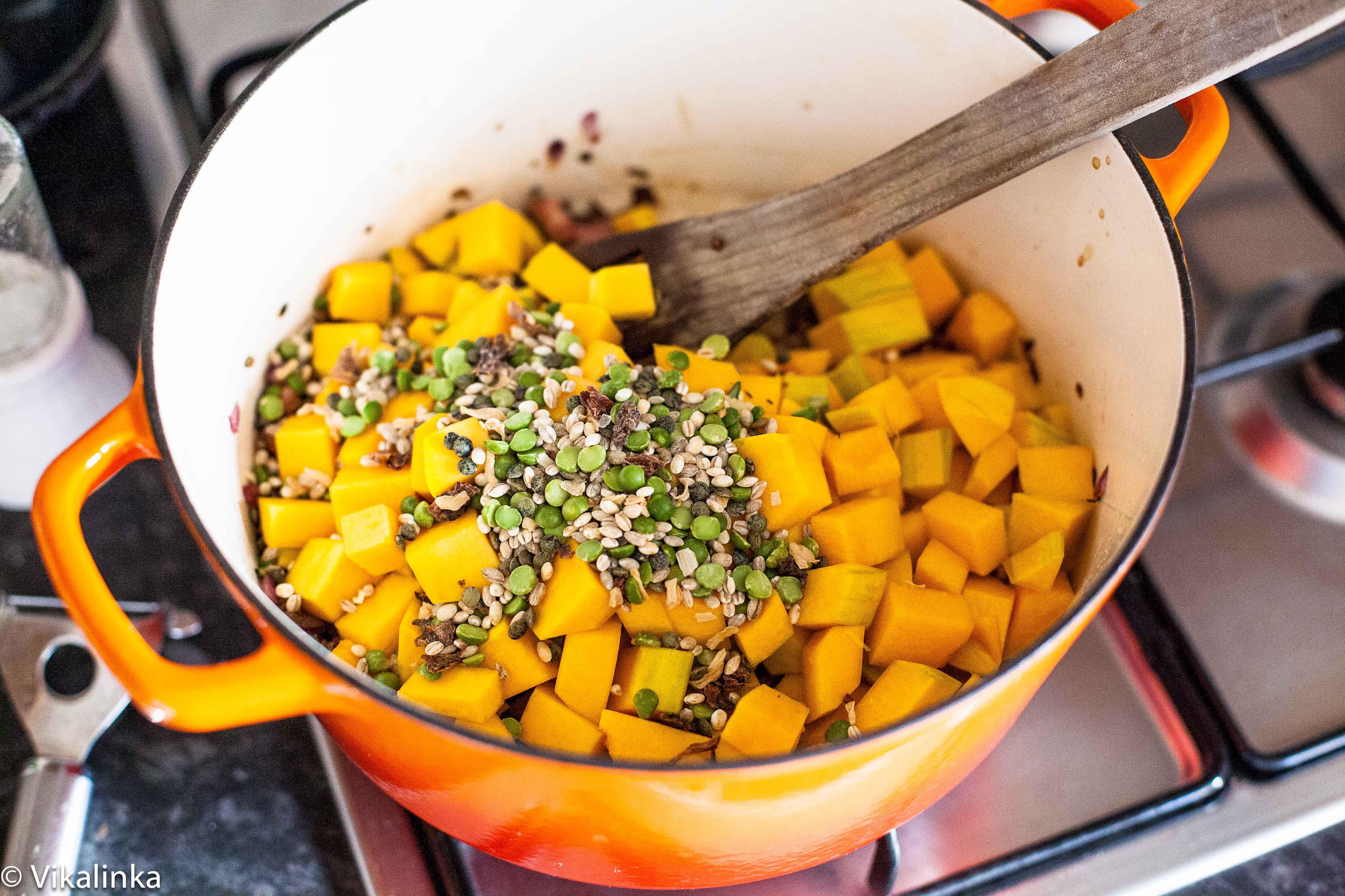 Chestnut Coquina Squash Soup with Porcini Mushrooms Prep