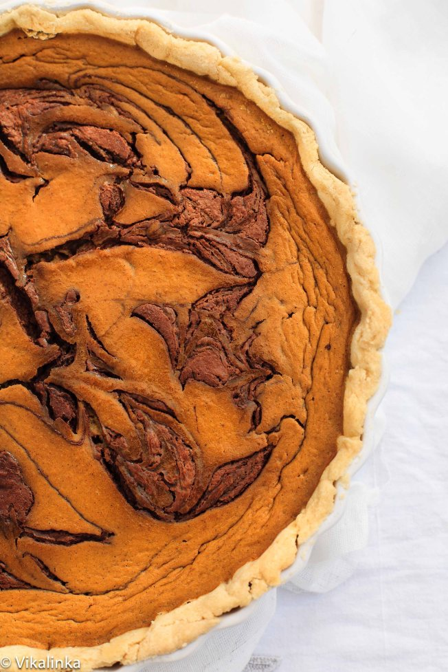 Pumpkin Pie with Toblerone Swirls