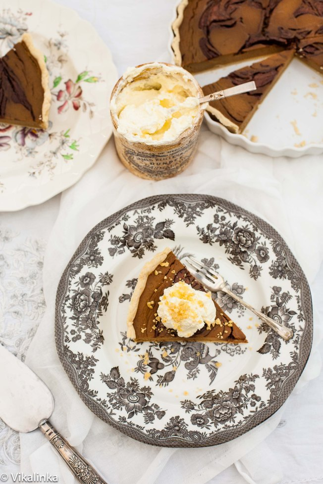 Pumpkin Pie with Toblerone Swirl